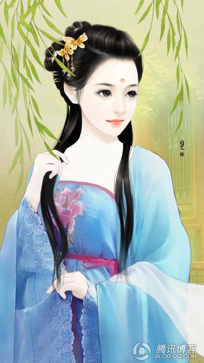 古装美女丹青_古代美女丹青图片_古代丹青美女,手绘古代美女丹青图图片 - 动手网